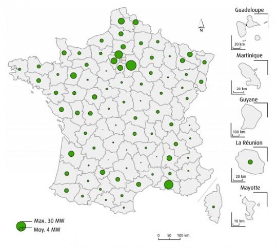 Puissance électrique totale biogaz raccordée par département fin 2015 en MWé, source SOeS