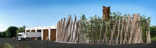 Traitement architectural prévu pour la chaufferie de Guéret, image Engie
