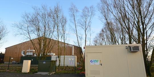 Unité de méthanisation du Pré du Loup à Saint-Josse dans le Pas-de-Calais, avec à droite, le poste d'injection du biométhane, photo Frédéric Douard