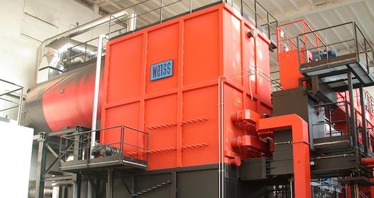 L'une des deux chaudières Weiss de 7 MW installée en 2006 à la chaufferie de La Duchère à Lyon, photo Frédéric Douard