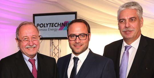 De gauche à droite, lors de la cérémonie des 50 ans de Polytechnik : Leo Schirnhofer, président; son fils Lukas Schirnhofer, viceprésident et Hans Jörg Schelling, ministre autrichien des Finances, photo Polytechnik