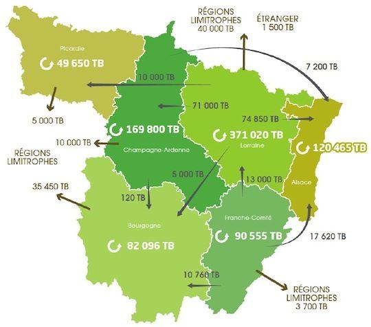 Carte des soldes de flux de plaquettes forestières dans le Grand Nord Est, source rapport GNE 2015