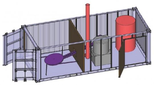 Schéma de principe de la chaufferie-conteneur AHCS