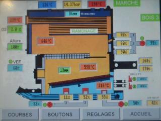 Ecran de supervision de la chaudière Weiss chez Bonilait Saint-Flour, photo Frédéric Douard
