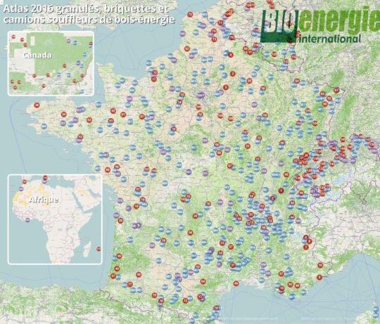 Atlas 2016 des producteurs de briquettes - Cliquer sur l'image pour l'agrandir.