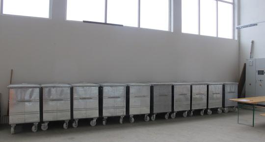 Le stockage des conteneurs à particules à Münchwilen, photo EBS