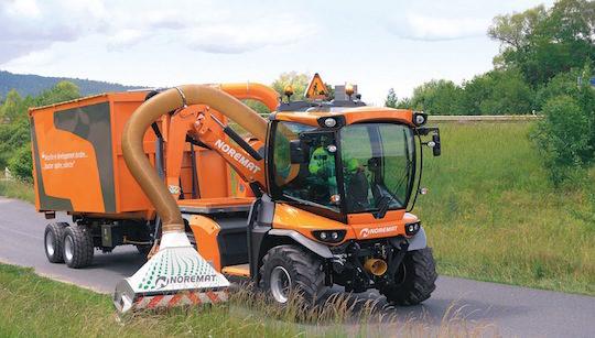 Le VSV permet de faucher et récolter la biomasse des bas-côtés routiers pour la méthanisation, photo Noremat