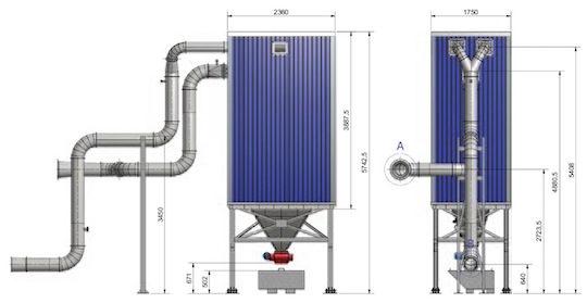 Schéma de la disposition générale du filtre ACS