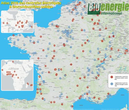 Atlas Bioénergie International 2016 des biocentrales électriques - Cliquer sur l'image pour l'agrandir.