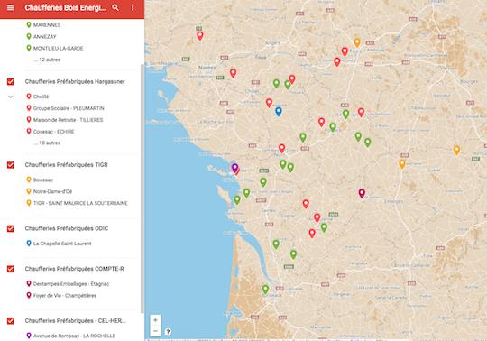Carte des chaufferies Bois Energie préfabriquées Nouvelle Aquitaine - Cliquer sur la carte pour y accéder en dynamique.