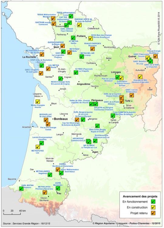Carte des unités de méthanisation agricole et territoriale en service en Nouvelle Aquitaine en 2015 - Cliquer sur l'image pour l'agrandir.