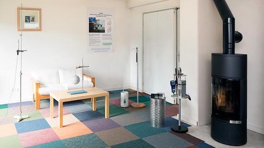 Expérimentation dans la maison laboratoire MARIA du CSTB à Marne-la-Vallée, photo Clément Guillaume
