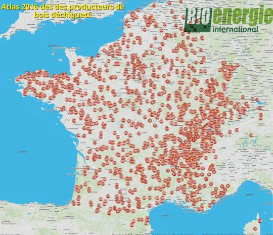 Atlas 2016 Bioénergie International des producteurs de bois déchiqueté - Cliquer sur la carte pour l'agrandir.