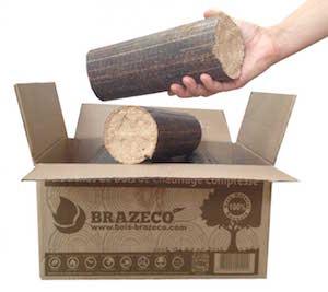 Les bûches BRAZECO dans leur emballage écologique