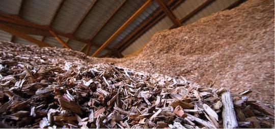 Stockage de plaquettes forestières, photo Abibois