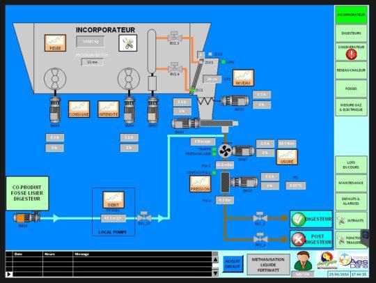 Ecran de supervision de l'automate Fertiwatt réalisé par AES Dana, photo GR Energies - Cliquer sur l'image pour l'agrandir.