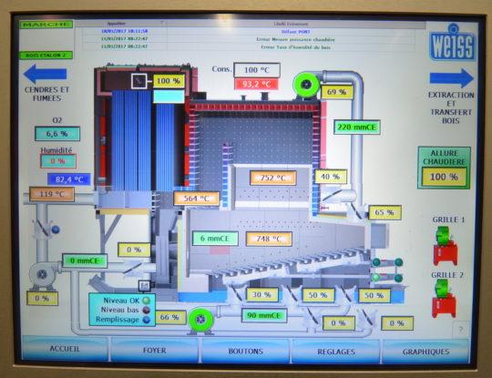 Ecran de supervision de la nouvelle chaudière WEISS, photo Frédéric Douard - Cliquer sur l'image pour l'agrandir.