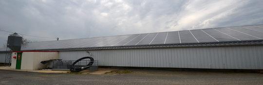 Le bâtiment d'élevage des dindes avec sa toiture photovoltaïque, photo Frédéric Douard
