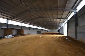 Le bâtiment de 1800 m2 pour le séchage et le stockage durant sa constrcution, photo Frédéric Douard