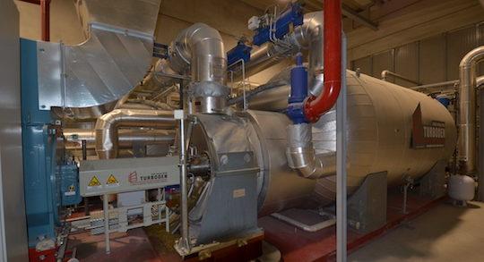 Le groupe de cogénération ORC TURBODEN de 1 MW à la centrale SOLIS de Settimo Torinese, photo Frédéric Douard