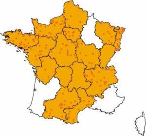 Les zones colorées sont les zones où existent des démarches régionales de qualité (anciennes régions administratives)