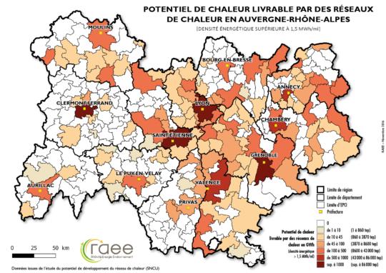 Potentiel de chaleur livrable dans les réseaux de chaleur d'Auvergne-Rhône-Alpes, RAEE - Cliquer sur la carte pour l'agrandir.