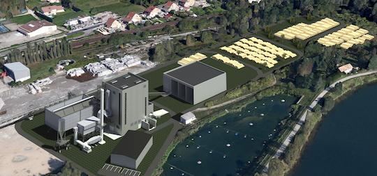 Visualisation du site de Gemdoubs avec la future centrale CBN au bord de la rivière Doubs, Akuo Energy