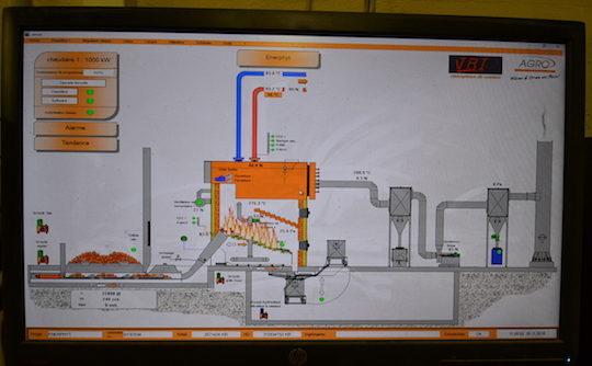 L'écran de supervision de la chaudière AGROFORST, photo Frédéric Douard