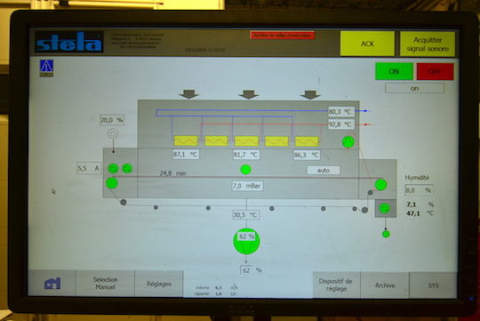 L'écran de supervision du séchoir STELA, photo Frédéric Douard