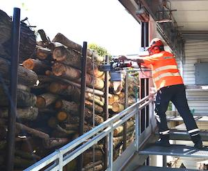 Echantillonnage d'humidité sur un camion de bois rond à la tronçonneuse sur rail, photo Frédéric Douard
