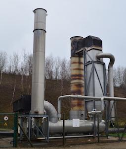 La torchère Biochaude de BIOME à Eteignières, avec récupération d'énergie, photo Frédéric Douard