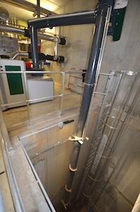 La vis verticale de remonté du bois dans la chaufferie de Technocampus, photo Frédréic Douard