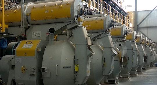 Presses à granulés de bois Promill chez Colombo Energy à Greenwood aux Etats-Unis, photo Promill