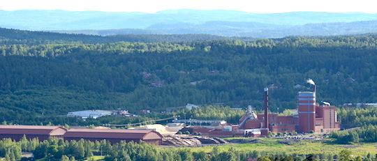 Vue sur la centrale de Falun avec des deux chaudières, ses deux centrales de cogénération et son ballon d'accumulation d'eau, photo Frédéric Douard