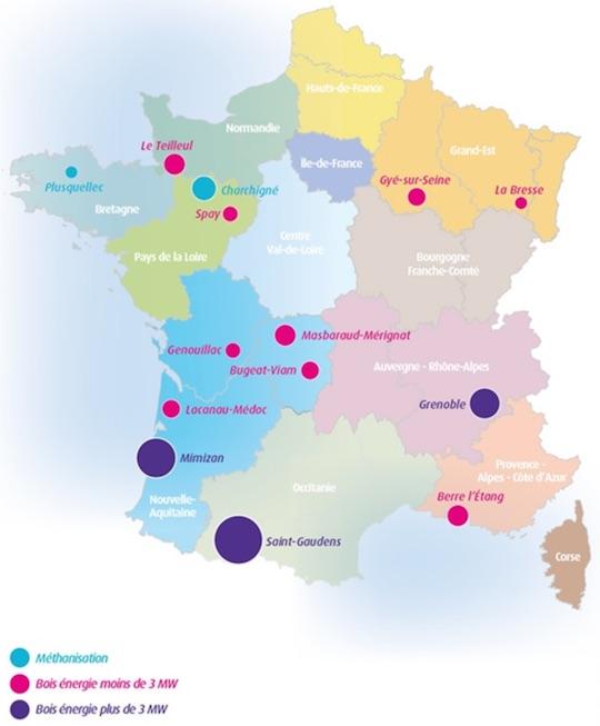 Localisation des 14 lauréats de l'appel d'offres CR5 biomasse