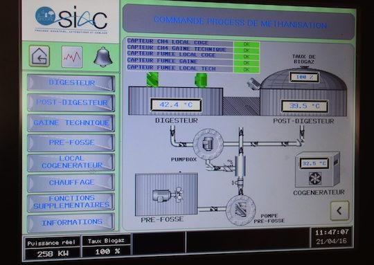 Ecran de supervision SIAC de la méthanisation, photo Frédéric Douard