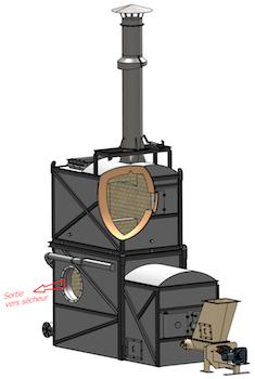 Schéma du générateur d'air chaud mise en place à Venansault par ESI
