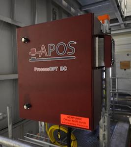 Système APOS de mesure en continu de l'humidité du bois entrant dans la chaudière, photo Frédéric Douard