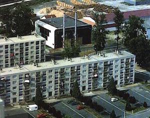 Vue aérienne de la chaufferie à la fin des années 80, photo Vitry Habitat