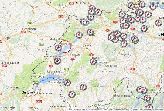 Cartes des installateurs experts granulés de Suisse, Propellet Suisse