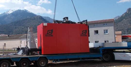 Livraison d'une chaudières à biomasse Compte R en Corse, photo Compte R
