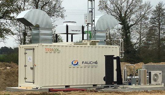 Module de cogénération biogaz TERRAGEN 123 en conteneur, photo Fauché Energie