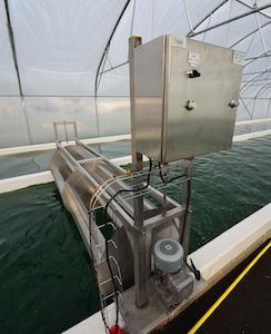 Roue à aubes du bassin à spiruline de Métha Ternois et fabriquée par AES Dana, photo Frédéric Douard