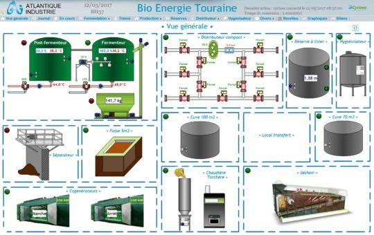 Visuel général de la supervision mise en place par Atlantique Thermique chez BioEnergie Touraine - Cliquer sur l'image pour l'agrandir.