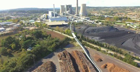Vue du Curvoduc reliant la station de déchiquetage de la Mounine à la centrale, photo RBL-REI