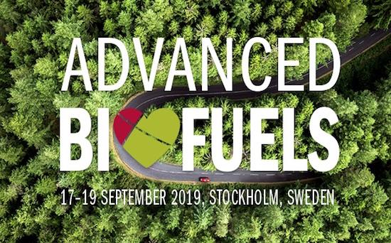 17–19 septembre 2019 à Stockholm, conférence sur les biocarburants avancés