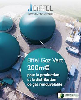 Fonds Eiffel Gaz Vert, 200 millions d'euros dédiés à la méthanisation