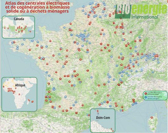 Atlas des centrales électriques à biomasse solide ou déchets ménagers
