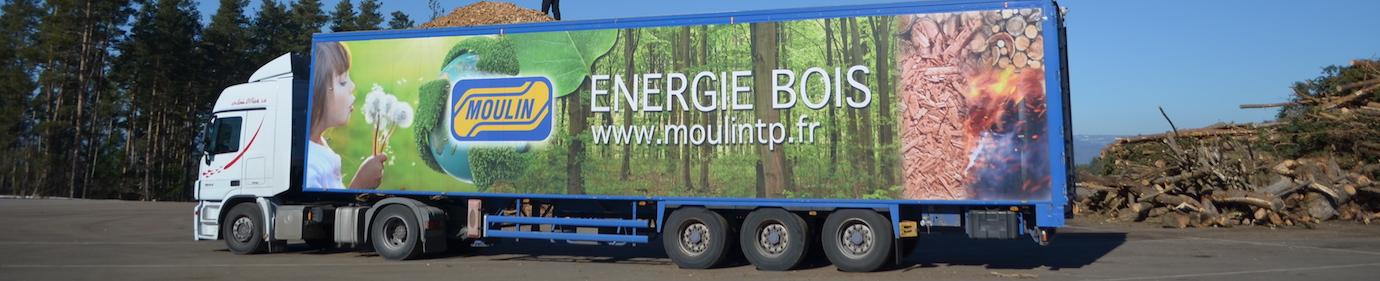 Camion de livraison de plaquettes, photo Frédéric Douard