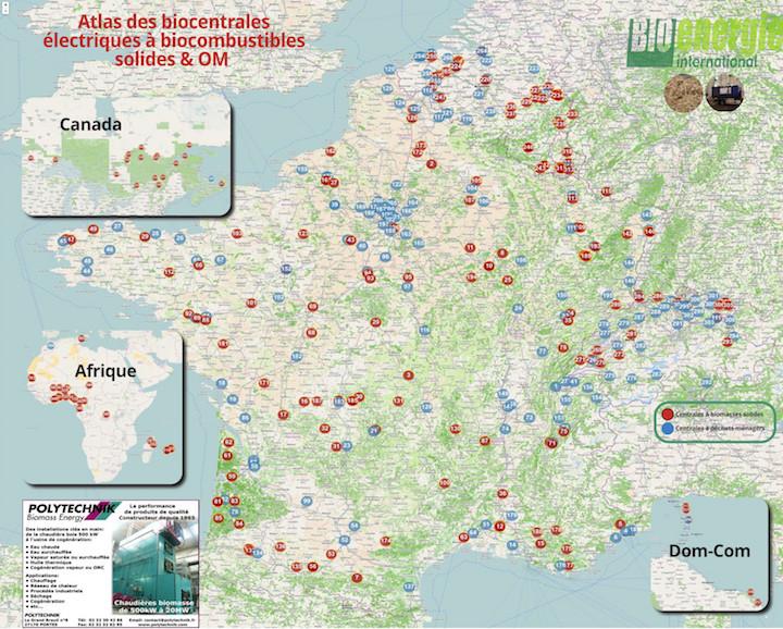 Atlas 2020 des centrales à biomasse solide ou à déchets ménagers